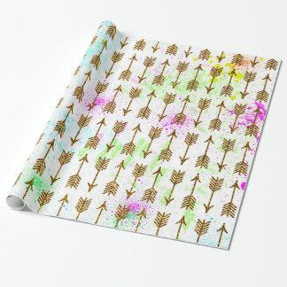 Gold glitter effect arrows watercolors splatters wrapping paper