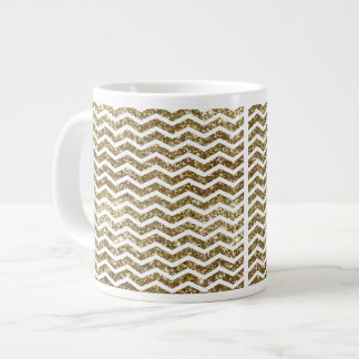Gold Glitter Effect Elegant Chevron Zig-Zag Large Coffee Mug