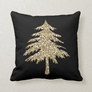 Gold Glitter Effect Pine Tree Pillow in Black