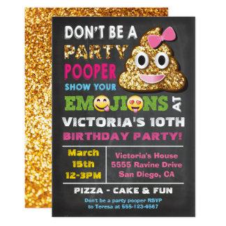 Gold Glitter Emoji Party Pooper Girl Birthay Card