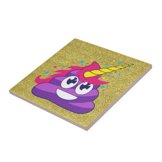 Gold Glitter Emoji Purple Unicorn Poop Tile