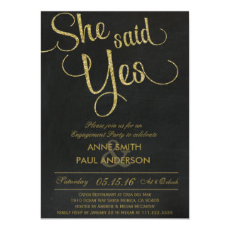 Gold Glitter Engagement Party invitation