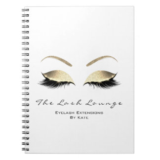Gold Glitter Eyes Makeup Beauty White Name Notebooks