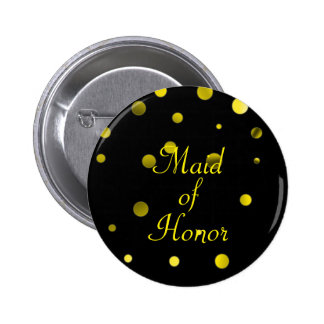 Gold Glitter Faux Foil Confetti Dots Maid of Honor 2 Inch Round Button
