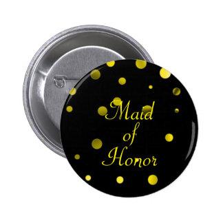 Gold Glitter Faux Foil Confetti Dots Maid of Honor 2 Inch Round Button