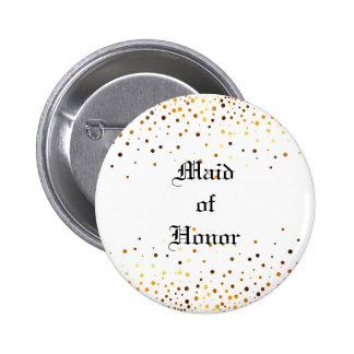 Gold Glitter Faux Foil Confetti Maid of Honor 2 Inch Round Button