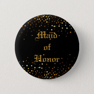 Gold Glitter Faux Foil Confetti Maid of Honor 2 Inch Round Button