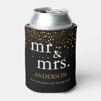 Gold Glitter Faux Foil Mr. & Mrs. Can Cooler