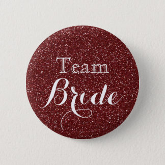 Gold Glitter Faux Foil Wedding Team Bride 2 Inch Round Button
