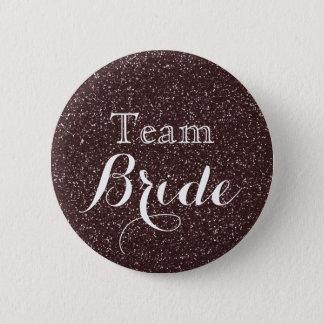 Gold Glitter Faux Foil Wedding Team Bride 2 Inch Round Button