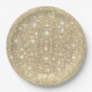 Gold Glitter Faux Sparkle Paper Plate