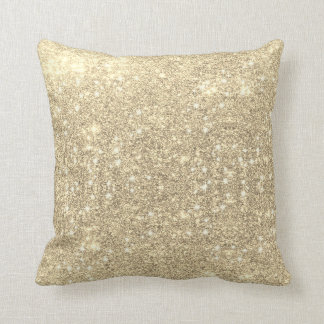 Gold Glitter Faux Sparkle Throw Pillow