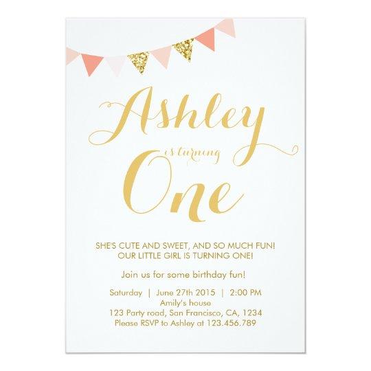 Gold glitter first Birthday invitation Blush Pink