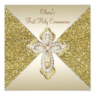 """Gold Glitter First Communion 5.25"""" Square Invitation Card"""