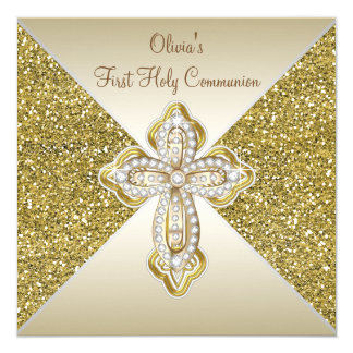 Gold Glitter First Communion Card