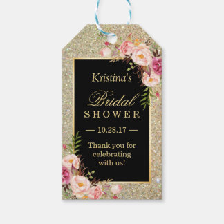 Gold Glitter Floral Bridal Shower Thank You Pack Of Gift Tags
