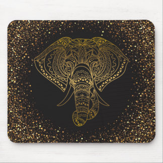 Gold Glitter Floral Elephant Tribal Office Gift Mouse Pad