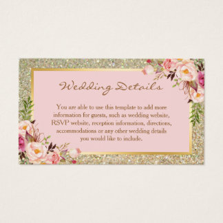 Gold Glitter Floral Wedding Details Insert Card