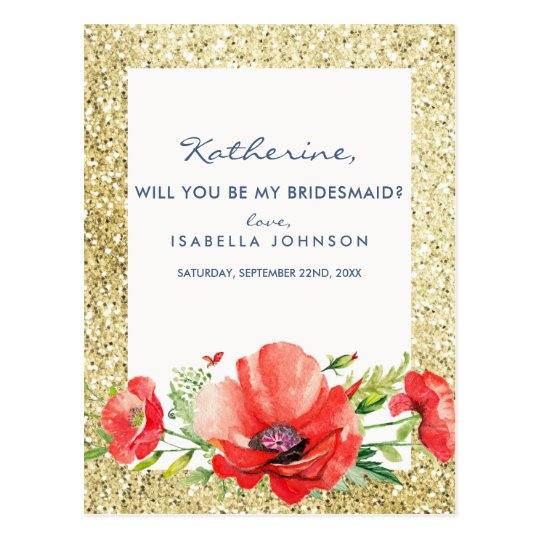 Gold Glitter Floral Will You Be My Bridesmaid? Postcard