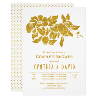 Gold glitter flowers floral wedding couples shower card