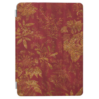 Gold Glitter Flowers Red Background iPad Air Cover