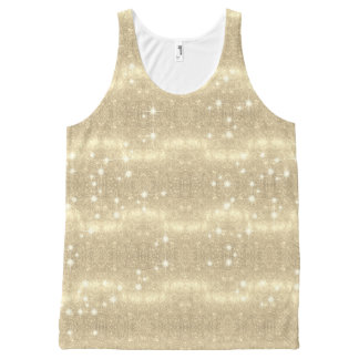 Gold Glitter Galaxy Faux Space Sparkle All-Over-Print Tank Top