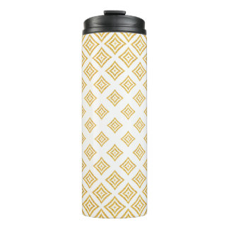 Gold Glitter Geometric Shapes On White Background Thermal Tumbler