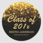 Gold Glitter Glam Sparkle Class of 2018 Graduation Classic Round Sticker