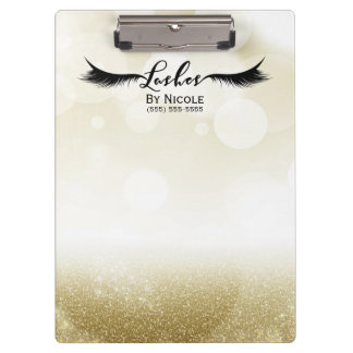 Gold Glitter Glam Sparkle Lashes Personalized Clipboard