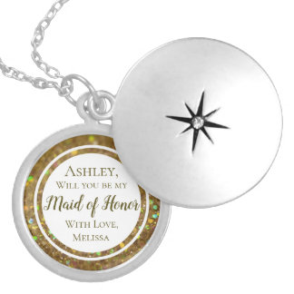Gold Glitter Glam Will You Be Maid of Honor Silver Plated Necklace