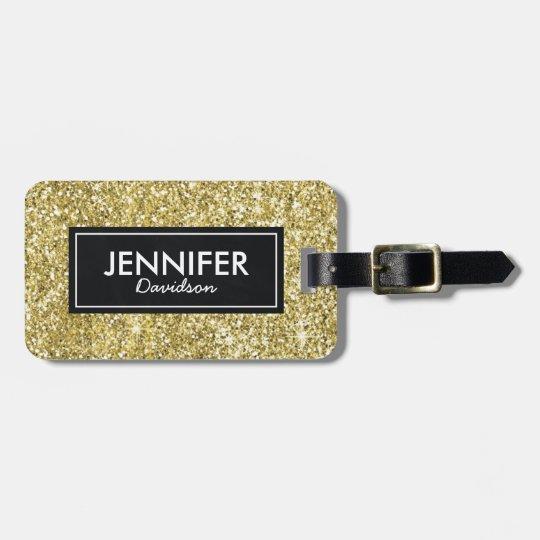 Gold Glitter Glam Womens Travel Bag Tag