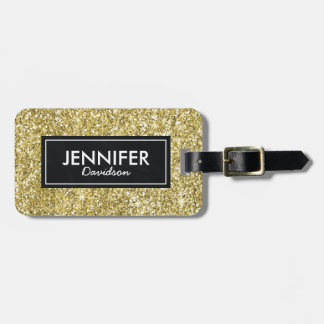 Gold Glitter Glam Womens Travel Luggage Tag