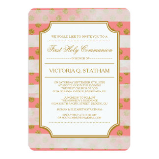 Gold Glitter Glamour First Holy Communion Invites