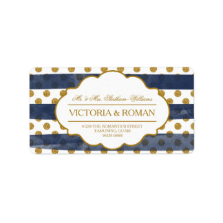 Gold Glitter Glamour Wedding Address Labels
