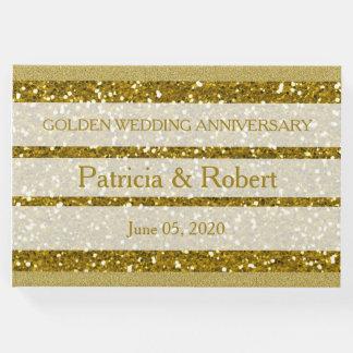 Gold Glitter Golden Wedding Anniversary Guest Book