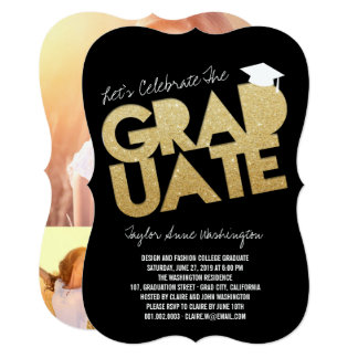 Gold Glitter Graduate Cutout Grad Party Invite