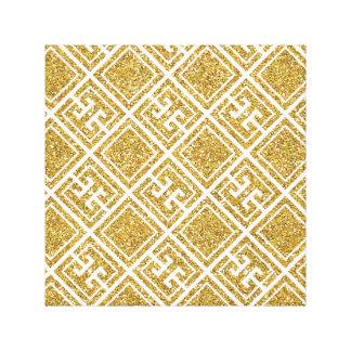 Gold Glitter Greek Pattern Canvas Print