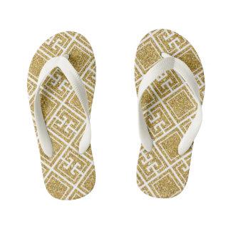 Gold Glitter Greek Pattern Kids Flip-Flop Kid's Flip Flops