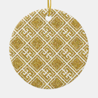 Gold Glitter Greek Pattern Ornament