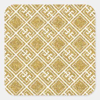 Gold Glitter Greek Pattern Sticker