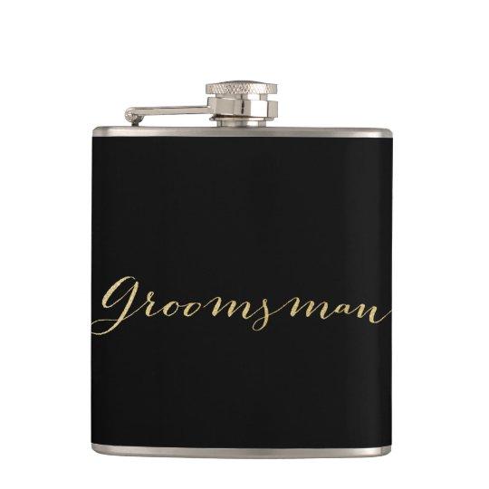 Gold Glitter Groomsman Flask