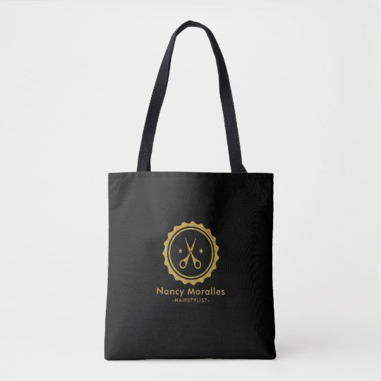 Gold Glitter Hairstylist Logo Tote Bag
