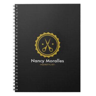 Gold Glitter Hairstylist Scissors Logo Design Spiral Notebook