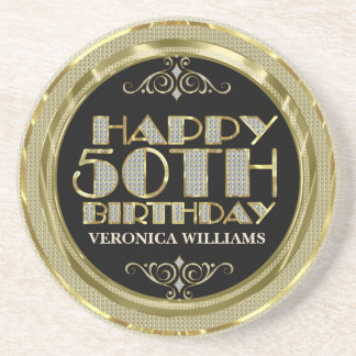 Gold Glitter Happy 50th Birthday Coasters