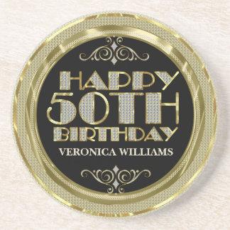 Gold Glitter Happy 50th Birthday Drink Coaster