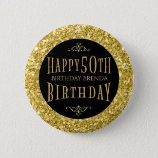 Gold Glitter Happy 50th Birthday Template 2 Inch Round Button