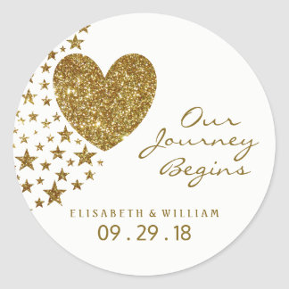 Gold Glitter Heart and Stars Wedding Classic Round Sticker