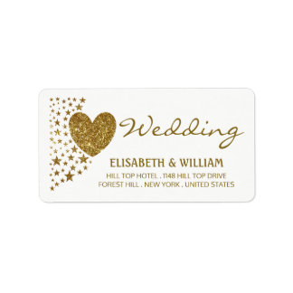 Gold Glitter Heart and Stars Wedding Label