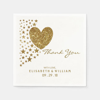 Gold Glitter Heart and Stars Wedding Paper Napkins