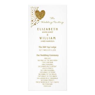 Gold Glitter Heart and Stars Wedding Program